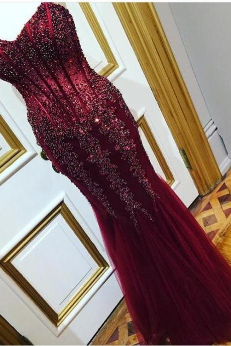 Gergeous Crystal Beading Mermaid Prom Dress, Sweetheart Tulle Evening Dress, Long Prom Dresses