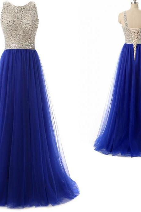 Sexy Sleeveless Crystal Beading Tulle Evening Dress, Royal Blue Long Prom Dress