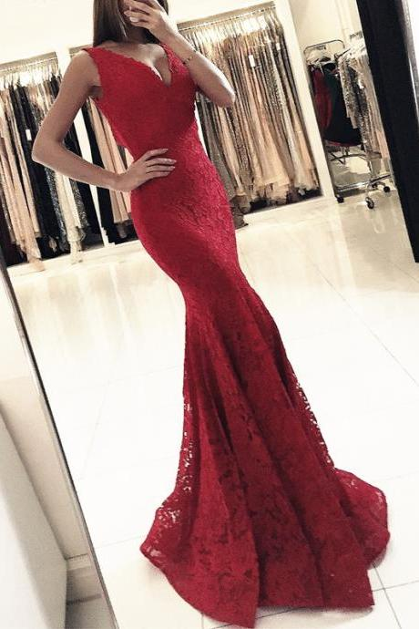 Sexy Sleeveless Red Mermaid Evening Dress, Appliques Lace Long Prom Dresses
