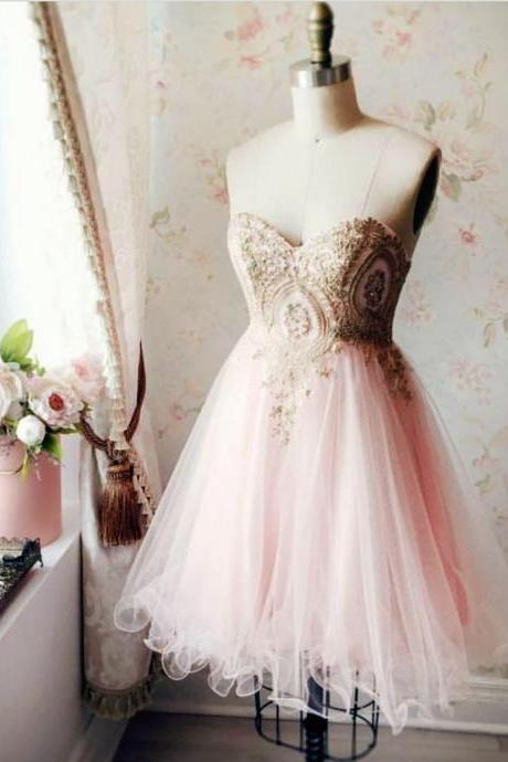 Sexy Sleeveless Prom Dress, Tulle Short Prom Gown