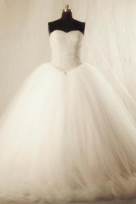Sexy White Tulle Ball Gown Wedding Dresses with Pearls Beaded