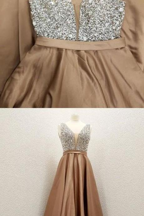 Sexy Sleeveless Prom Dress, Beaded V Neck Prom Dresses, Long Evening Dress
