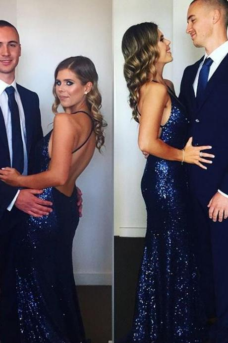 Sexy Sleeveless Prom Dress, Backless Mermaid Prom Dresses, Long Evening Dress