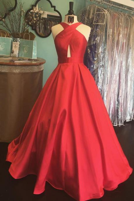 Charming Prom Dress, Sleeveless A Line Evening Dress, Red Long Prom Gown