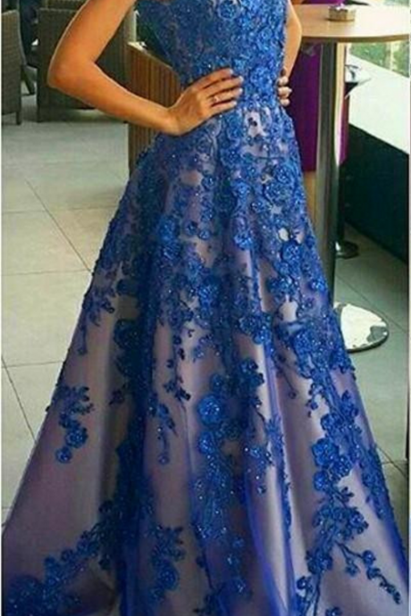 Charming Prom Dress, Tulle Blue Apppliques Evening Dress, Sexy Beaded Formal Evening Gown