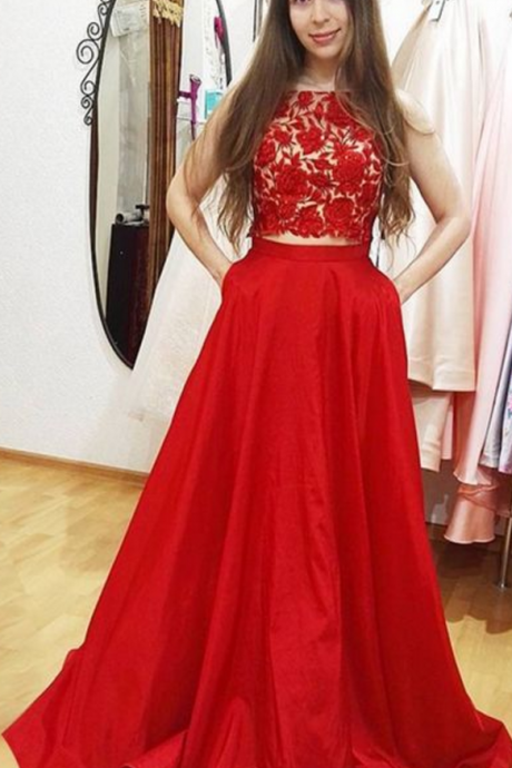 Charming Prom Dress, Sleeveless Red Lace Prom Dresses, Sexy Evening Party Dress
