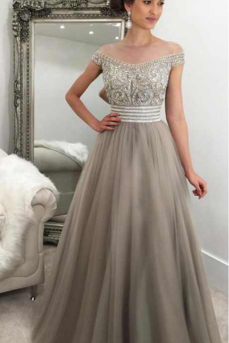 Charming Prom Dress, A Line Evening Dress, Beading Tulle Long Homecoming Dress, Sexy Prom Dresses