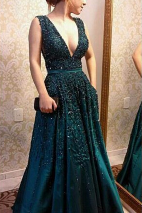 Charming Prom Dress, Sexy Long Prom Dresses, Appliques Evening Dress, Formal Evening Gown