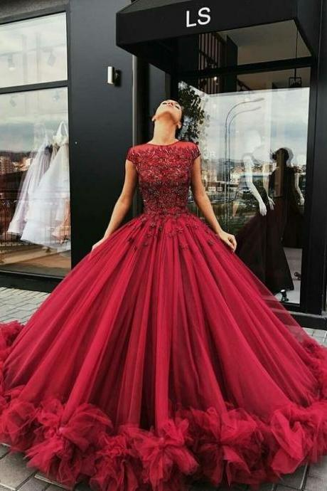 Tulle Appliques Red Wedding Dress, Cap Sleeve Ball Gown Wedding Dresses, Sexy Bridal Dress
