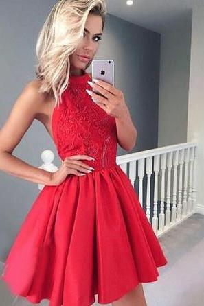 Charming Prom Dress, Short Prom Gown, Sleeveless Red Homecoming Dress