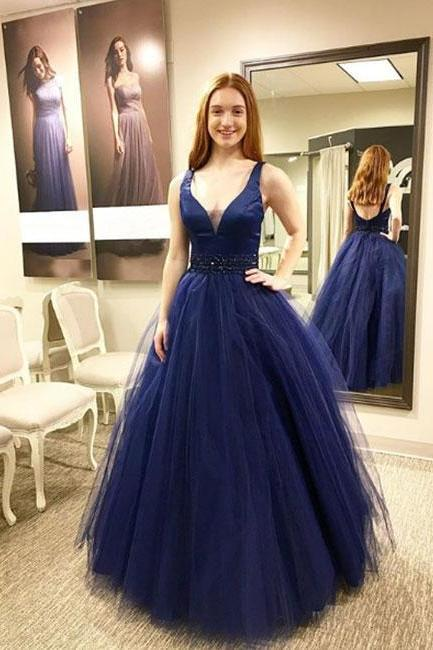 Charming Prom Dress, Sexy V Neck Sleeveless Prom Dresses, Elegant Long Homecoming Dress, Navy Evening Dress