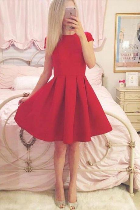 Charming Prom Dress, Short Homecoming Dress, Elegant Red Prom Gown, Satin Prom Dresses