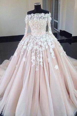 Full Sleeve Tulle Appliques Ball Gown Wedding Dresses