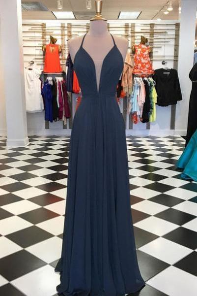 Charming Chiffon Prom Dress, A Line Prom Dresses, Simple Long Party Dress