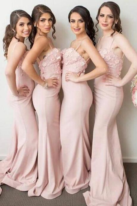 Sexy Spaghetti Straps Mermaid Bridesmaid Dress with Handmade Flowers
