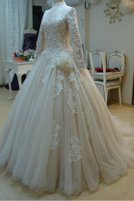 Long Sleeve Appliques Lace Tulle Ball Gown Wedding Dress, High Neck Wedding Dresses