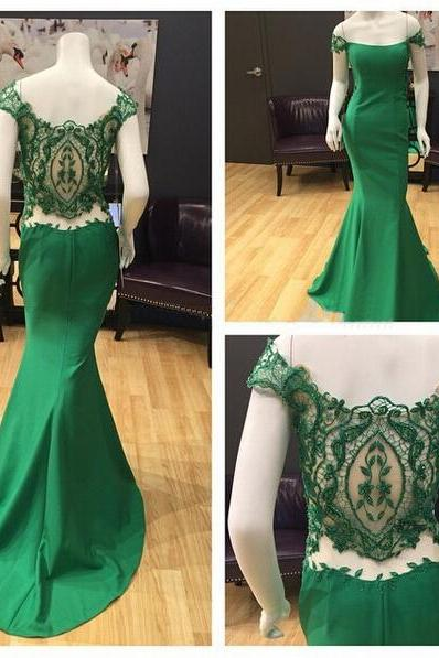Charming Appliques Prom Dress, Dark Green Cap Sleeve Prom Dresses, Long Evening Dress