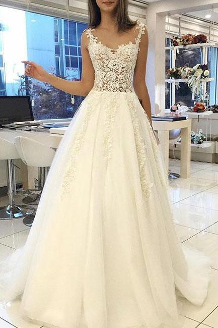 Tulle A Line White Appliques Wedding Dress, 2018 Wedding Dresses