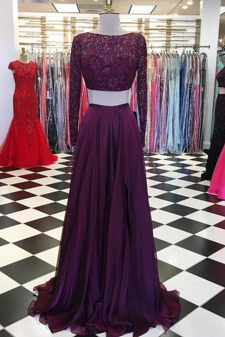 Long Sleeve Evening Dress, Two Piece Prom Dress, Sexy Long Prom Dresses
