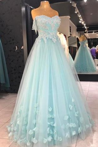 Baby Blue Appliques Prom Dress, Sexy Tulle Prom Dresses, Long Evening Dress
