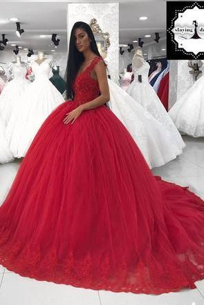 Sexy Red Appliques Ball Gown Wedding Dresses