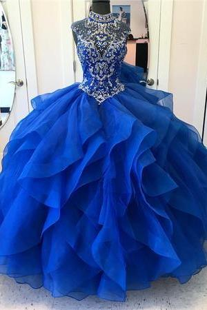 Elegant Tulle Royal Blue Crystal Beading Quinceanera Dress Ball Gown Prom Dresses