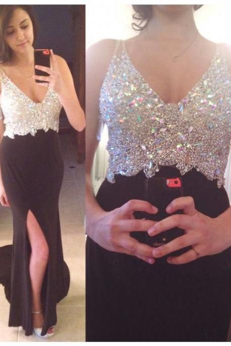 Sexy Beading Sparkly Long Prom Dress, Crystal Mermaid Prom Dress, Party Dress, Long Evening Dress