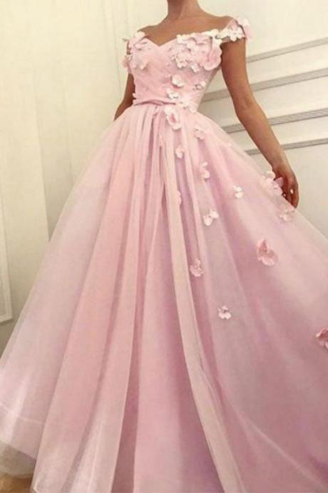 Elegant Pink Long Prom Dress, Handmade Flower Tulle Long Prom Dress, Party Dress