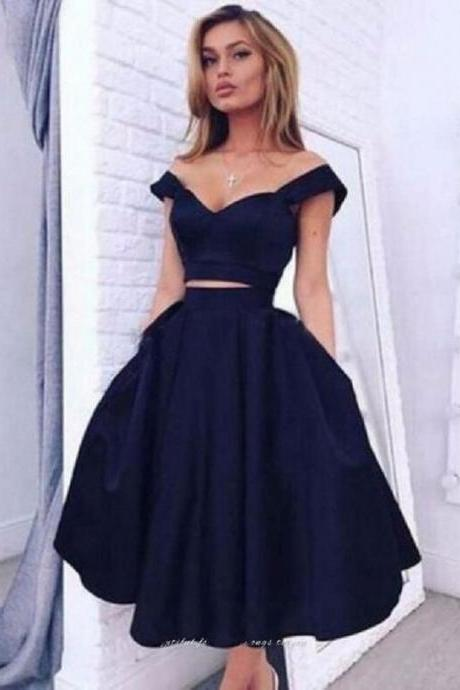 2018 Navy Blue Prom Dress, Simple Short Prom Dress, Party Dress