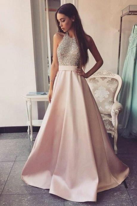 High Neck Long A-line Pink Prom Dresses Beading Open Back Satin Prom Dresses,Modest Evening Dresses,Party Prom Dresses,Pretty Prom Gowns