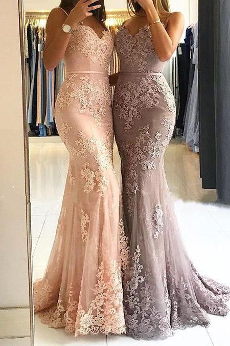 Sexy Sleeveless Straps Appliques Mermaid Prom Dresses, Long Evening Dress