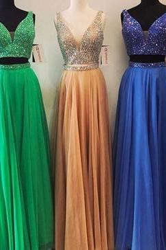 Elegant Two Piece Prom Dress, V Neck Beaded Prom Dresses, Tulle Floor Length Homecoming Dress