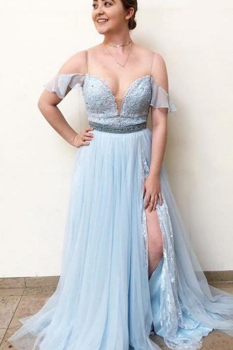 Custom Made Light Blue Cold Shoulder V-Neckline and High Split Tulle Evening Dress, Prom Dress with Beaded Waistline