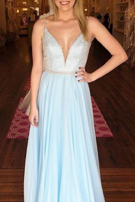 Light Blue Chiffon Beaded V-neck Long Prom Dress, Sexy Sleeveless Evening Dress for Party