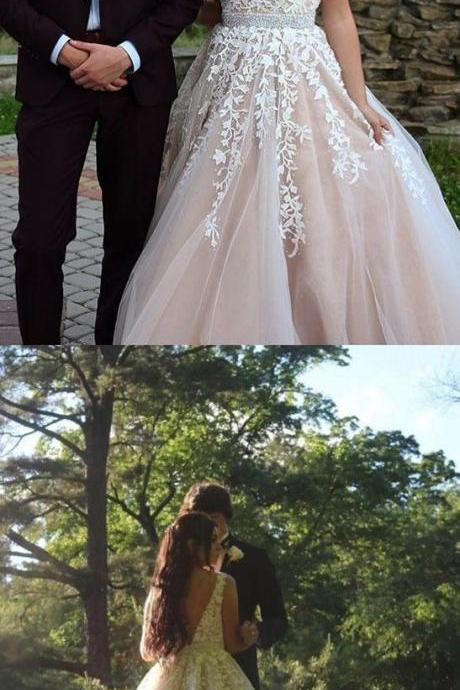 Charming V-neck Appliques Tulle Ball Gown Wedding Dress, 2018 Bridal Dresses