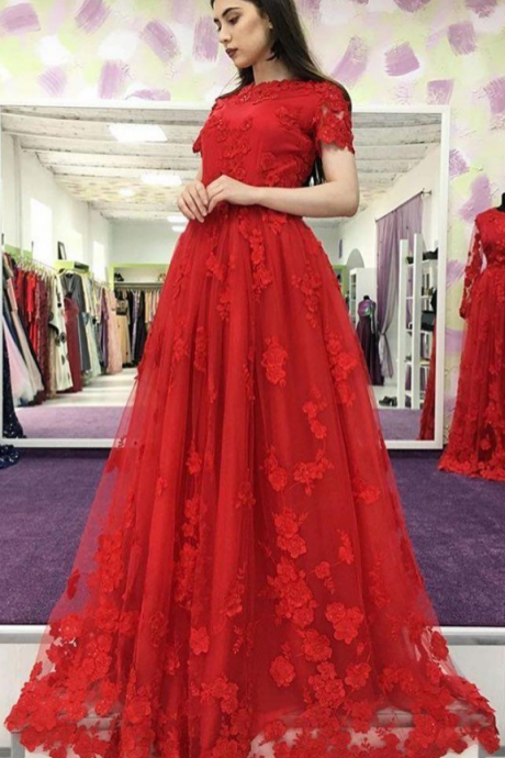 Short Sleeve Red Tulle Appliques Prom Dress, Long Prom Dresses, Formal Evening Dress