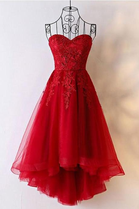 Strapless Tulle Red Prom Dress, Appliques Prom Dresses, Elegant Homecoming Dress