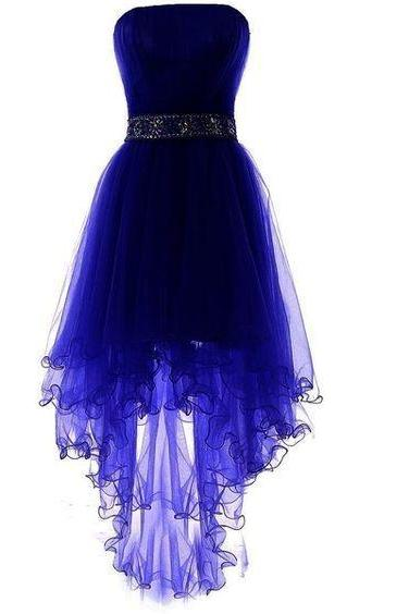Strapless Prom Dress, Tulle Prom Dresses, Elegant Homecoming Dresses