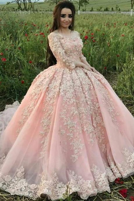 Charming Wedding Dress, Sexy Long Sleeve Tulle Ball Gown Wedding Dresses with Appliques Lace, 2019 Bridal Dresses