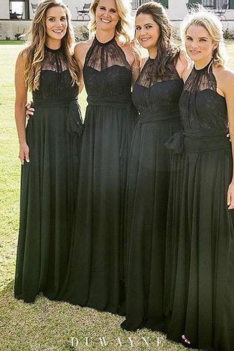 Black Illusion Sheer Halter Lace A-line Floor-Length Bridesmaid Dress, Wedding Party Dress