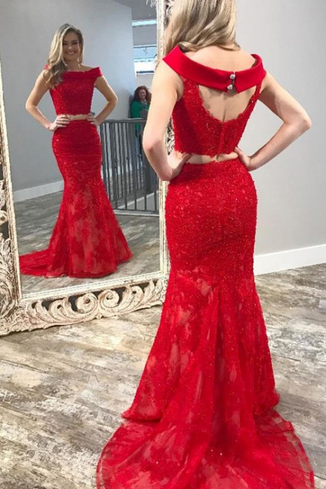 Charming Prom Dress, Elegant Red Appliques Prom Dresses, Long Evening Dress
