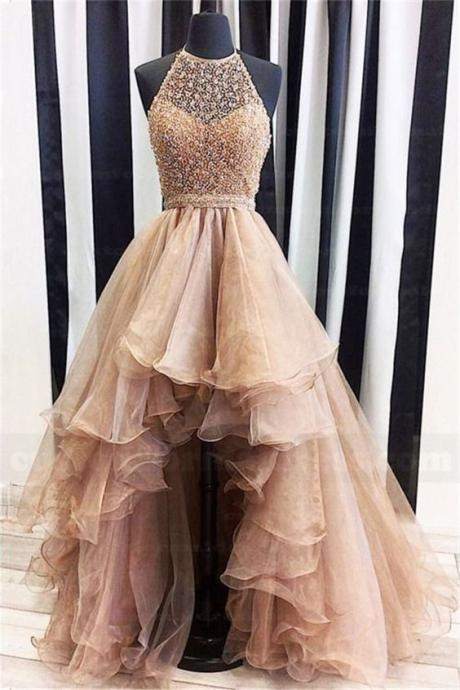 Gergeous Crystal Beading Tulle Prom Dress, Sexy Prom Dresses, Long Evening Dress