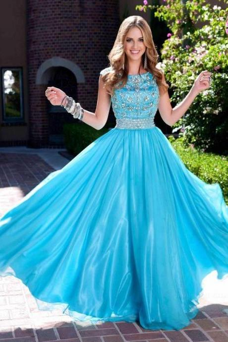 Charming Tulle Prom Dress, Blue Beaded Prom Dresses, Long Evening Dress