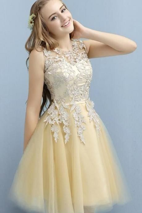 Tulle Homecoming Dresses, Appliques Short Prom Dress, Elegant Prom Gowns