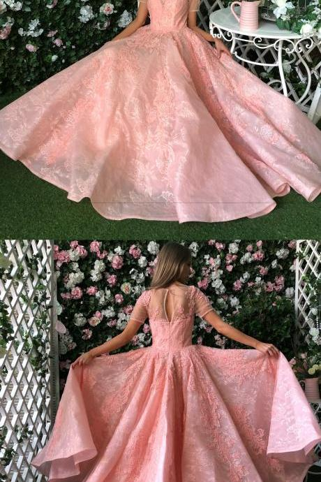 Charming Prom Dress, Sexy Short Sleeve Tulle Appliques Prom Dresses, Long Evening Dress