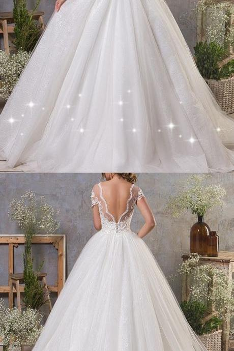 Charming Cap Sleeve White Tulle Ball Gown Wedding Dress