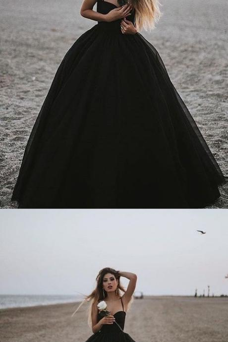 Charming Prom Dress, Sexy Spaghetti Straps Black Evening Dress, Black Ball Gowns