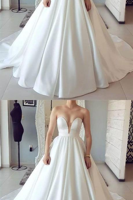 2019 Sweetheart Sleeveless Bridal Dresses, Sexy Ball Gown Wedding Dresses