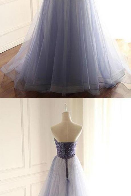 Charming Prom Dress, Strapless Tulle Homecoming Dress, Long Evening Dress
