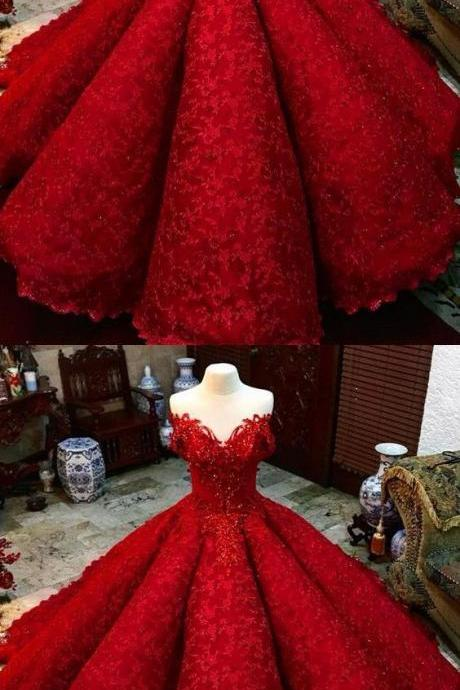 Off Shoulder Appliques Red Ball Gown Prom Dresses, Sexy Quinceanera Dresses, Sweet 16 Dresses